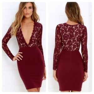 Lulus Swooner or Later Red Plunge Lace Dress